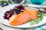 Salmon And Blueberries Horiz